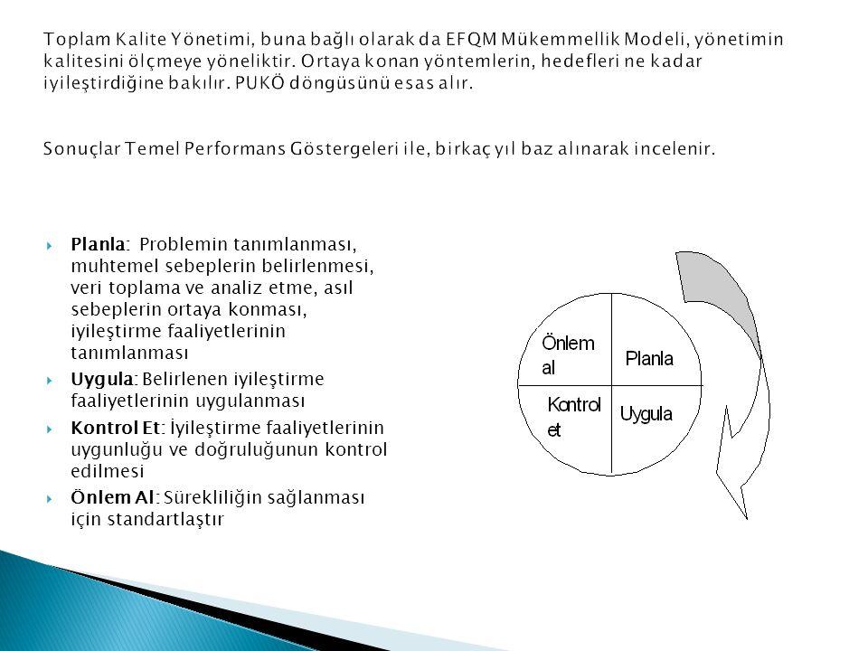 Toplam Kalite Yönetimi, buna bağlı olarak da EFQM Mükemmellik Modeli, yönetimin kalitesini ölçmeye yöneliktir. Ortaya konan yöntemlerin, hedefleri ne kadar iyileştirdiğine bakılır. PUKÖ döngüsünü esas alır. Sonuçlar Temel Performans Göstergeleri ile, birkaç yıl baz alınarak incelenir.