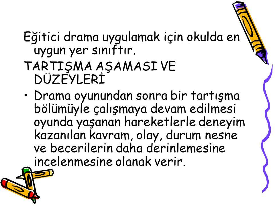 Eğitici drama uygulamak için okulda en uygun yer sınıftır.
