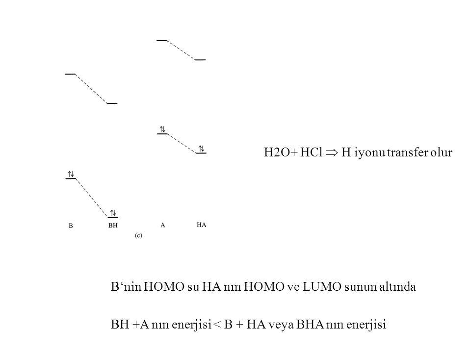 H2O+ HCl  H iyonu transfer olur