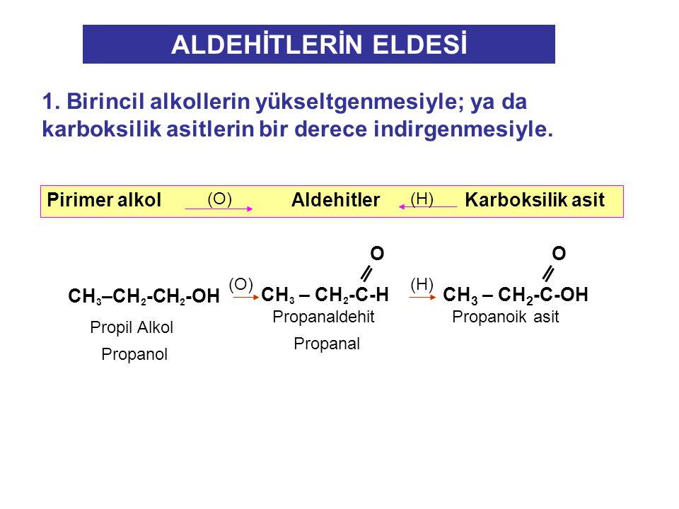 ALDEHİTLERİN ELDESİ 1. Birincil alkollerin yükseltgenmesiyle; ya da karboksilik asitlerin bir derece indirgenmesiyle.