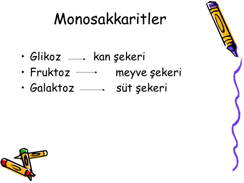Monosakkaritler Glikoz kan şekeri Fruktoz meyve şekeri