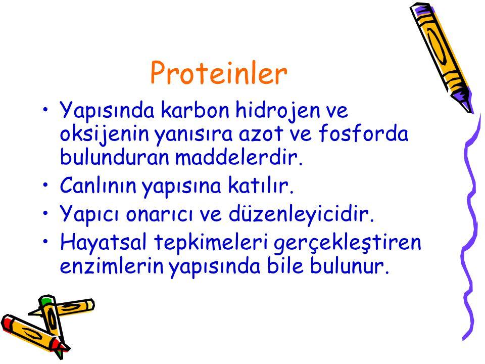 Proteinler Yapısında karbon hidrojen ve oksijenin yanısıra azot ve fosforda bulunduran maddelerdir.
