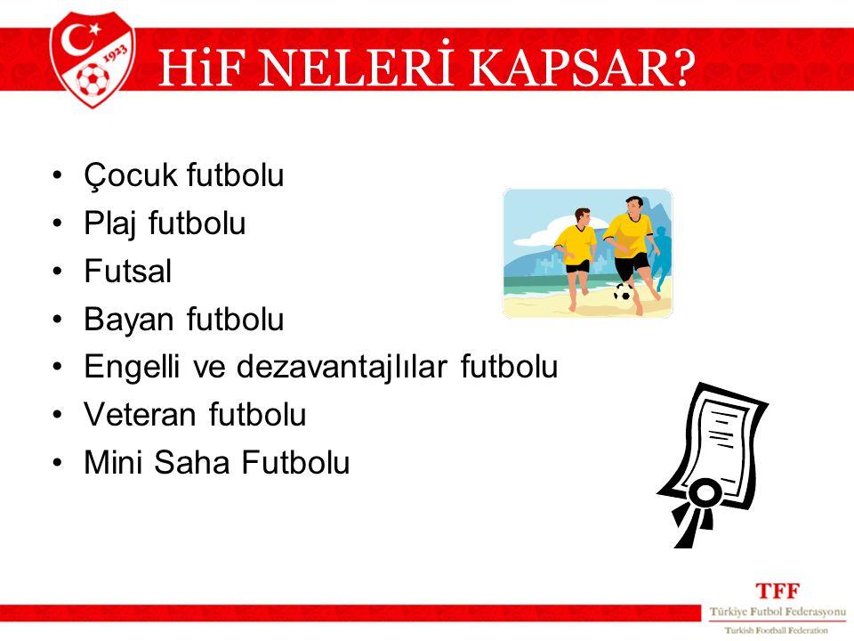 HiF NELERİ KAPSAR Çocuk futbolu Plaj futbolu Futsal Bayan futbolu