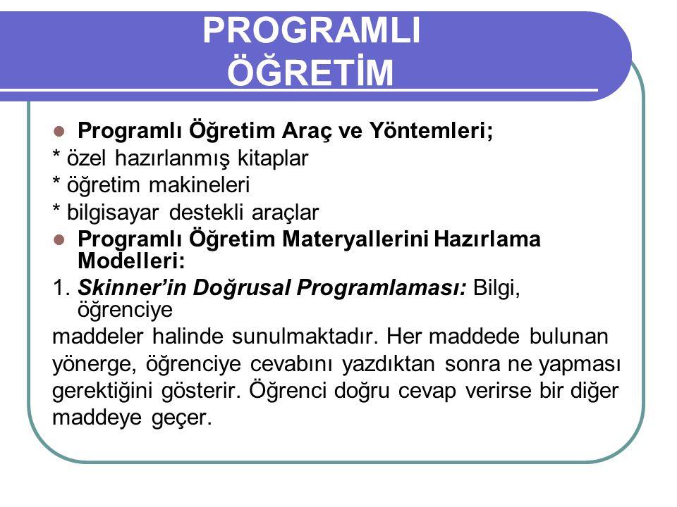 PROGRAMLI ÖĞRETİM Programlı Öğretim Araç ve Yöntemleri;
