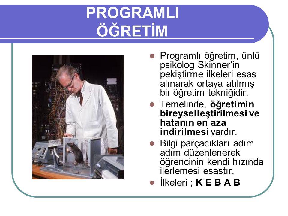 PROGRAMLI ÖĞRETİM Programlı öğretim, ünlü psikolog Skinner'in pekiştirme ilkeleri esas alınarak ortaya atılmış bir öğretim tekniğidir.