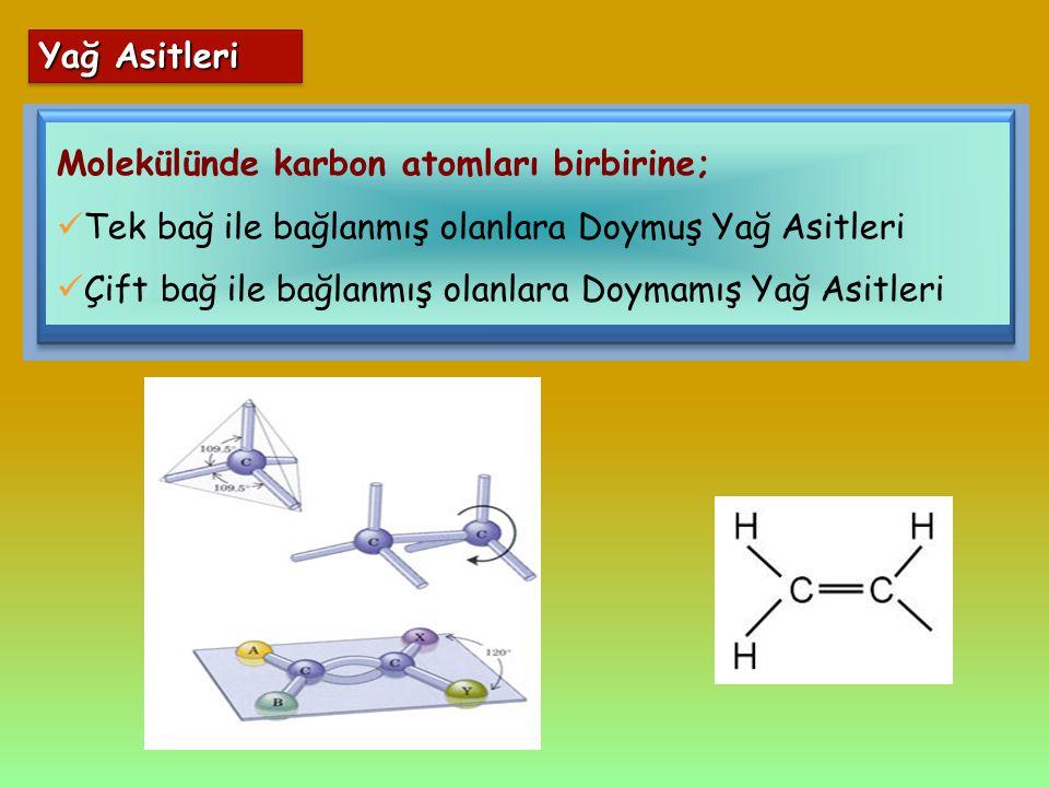 Yağ Asitleri Molekülünde karbon atomları birbirine; Tek bağ ile bağlanmış olanlara Doymuş Yağ Asitleri.