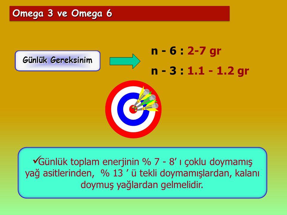n - 6 : 2-7 gr n - 3 : 1.1 - 1.2 gr Omega 3 ve Omega 6