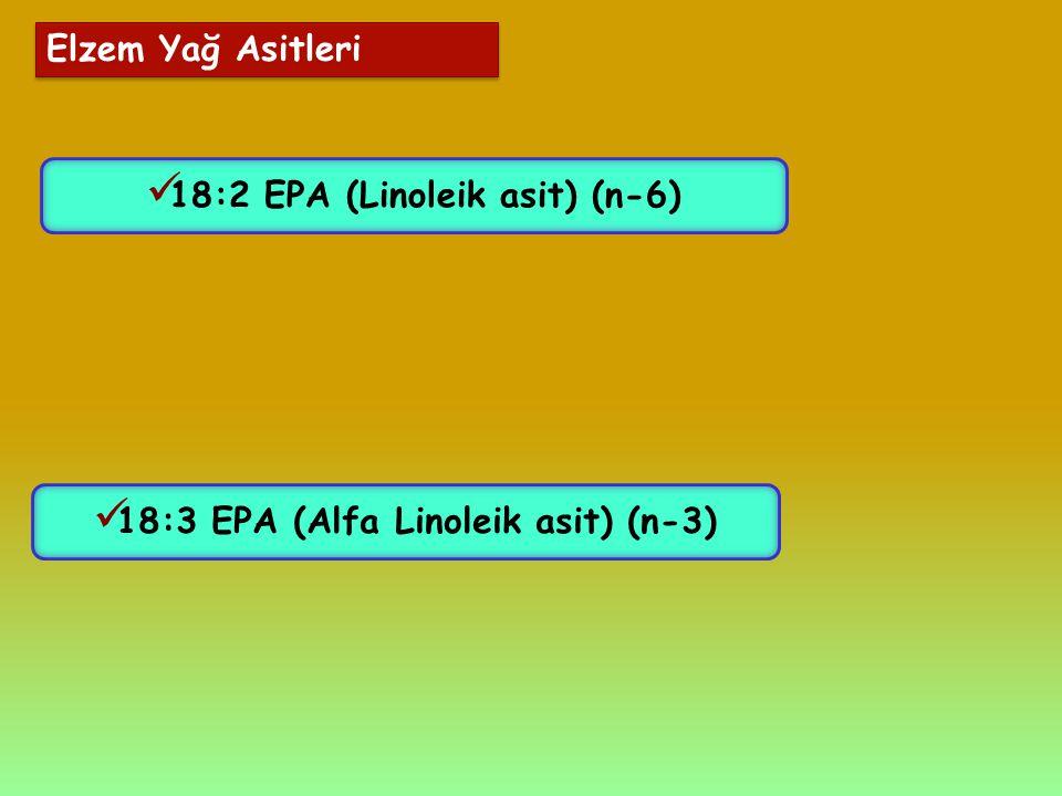 18:2 EPA (Linoleik asit) (n-6) 18:3 EPA (Alfa Linoleik asit) (n-3)