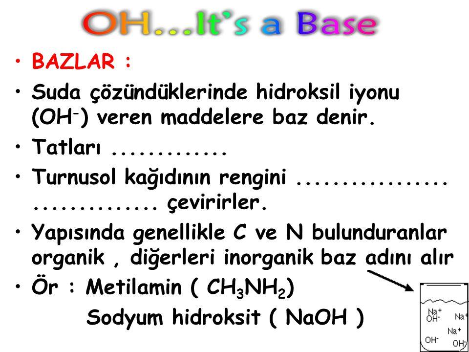 BAZLAR : Suda çözündüklerinde hidroksil iyonu (OH-) veren maddelere baz denir. Tatları .............