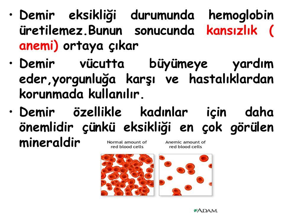 Demir eksikliği durumunda hemoglobin üretilemez