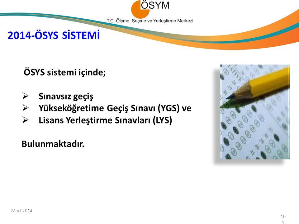 2014-ÖSYS SİSTEMİ ÖSYS sistemi içinde; Sınavsız geçiş