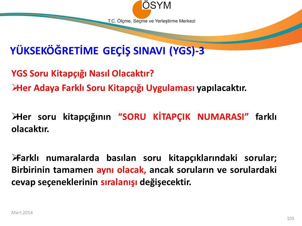 YÜKSEKÖĞRETİME GEÇİŞ SINAVI (YGS)-3