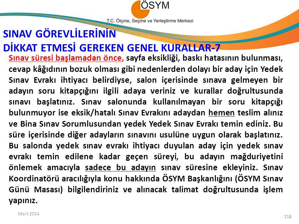 SINAV GÖREVLİLERİNİN DİKKAT ETMESİ GEREKEN GENEL KURALLAR-7