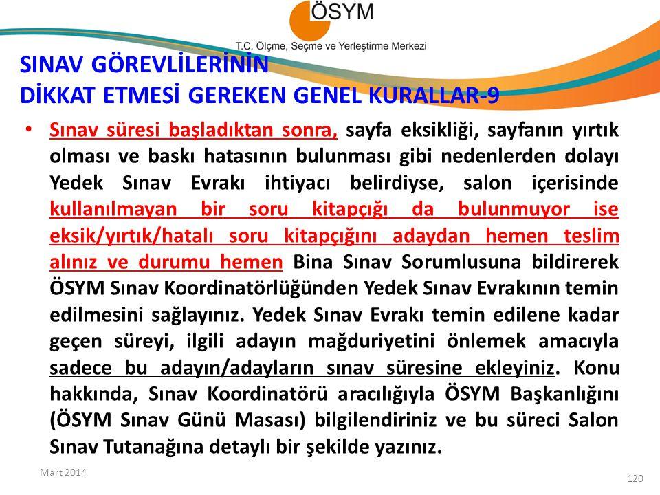 SINAV GÖREVLİLERİNİN DİKKAT ETMESİ GEREKEN GENEL KURALLAR-9