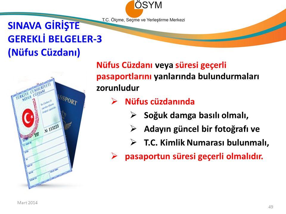 SINAVA GİRİŞTE GEREKLİ BELGELER-3 (Nüfus Cüzdanı)