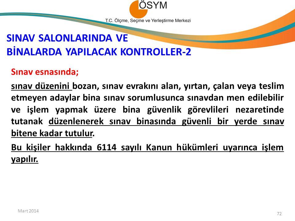 SINAV SALONLARINDA VE BİNALARDA YAPILACAK KONTROLLER-2