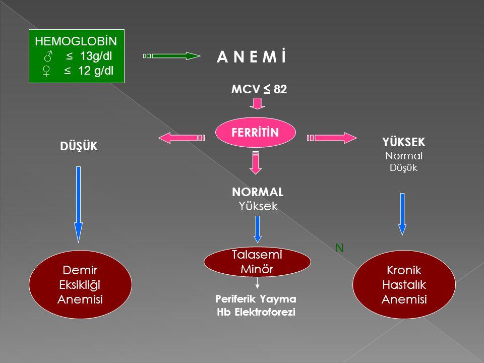 A N E M İ HEMOGLOBİN ♂ ≤ 13g/dl ♀ ≤ 12 g/dl MCV ≤ 82 FERRİTİN FERRİTİN