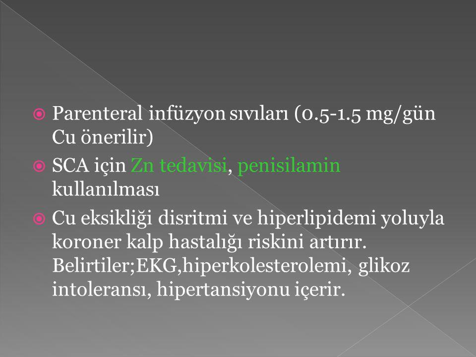 Parenteral infüzyon sıvıları (0.5-1.5 mg/gün Cu önerilir)