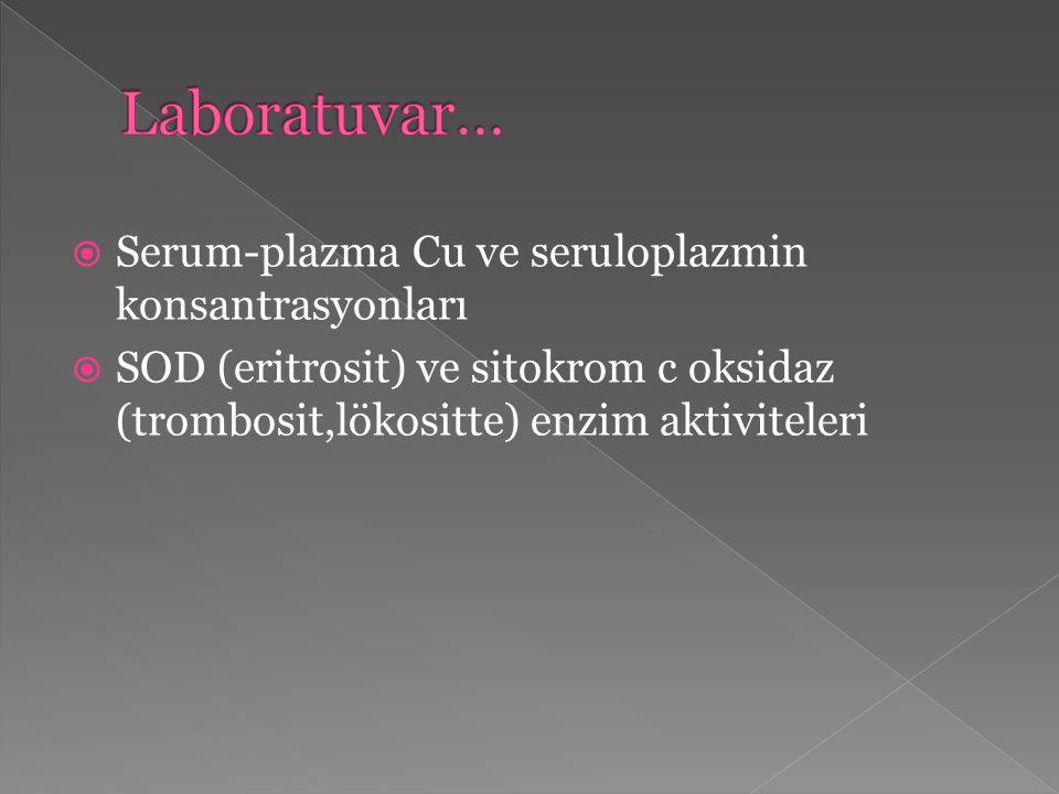 Laboratuvar… Serum-plazma Cu ve seruloplazmin konsantrasyonları