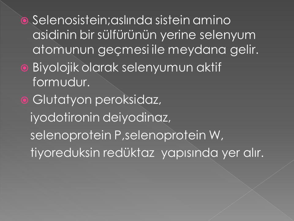Selenosistein;aslında sistein amino asidinin bir sülfürünün yerine selenyum atomunun geçmesi ile meydana gelir.
