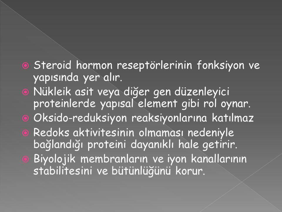 Steroid hormon reseptörlerinin fonksiyon ve yapısında yer alır.