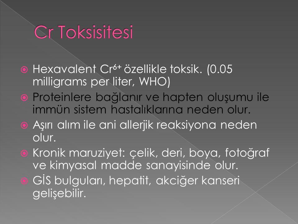 Cr Toksisitesi Hexavalent Cr6+ özellikle toksik. (0.05 milligrams per liter, WHO)