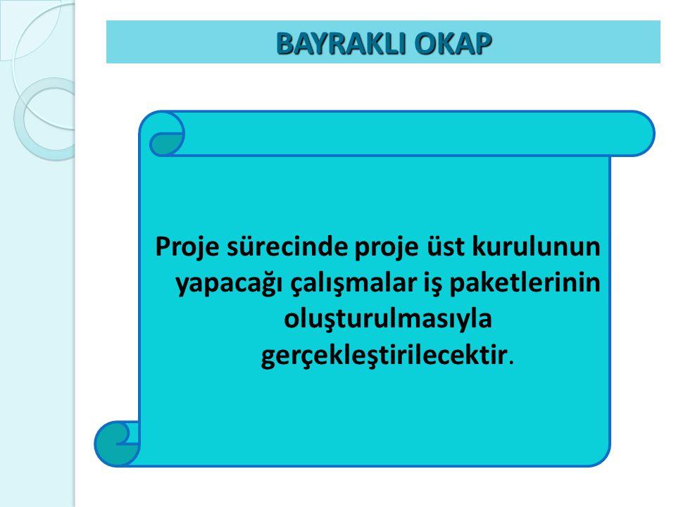 BAYRAKLI OKAP Proje sürecinde proje üst kurulunun yapacağı çalışmalar iş paketlerinin oluşturulmasıyla gerçekleştirilecektir.
