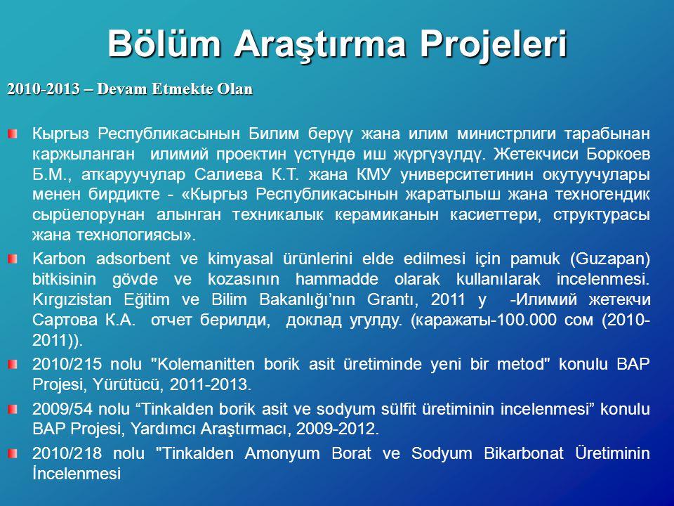 Bölüm Araştırma Projeleri