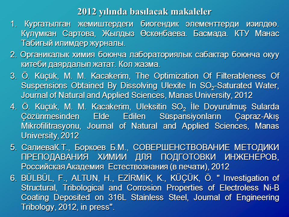 2012 yılında basılacak makaleler