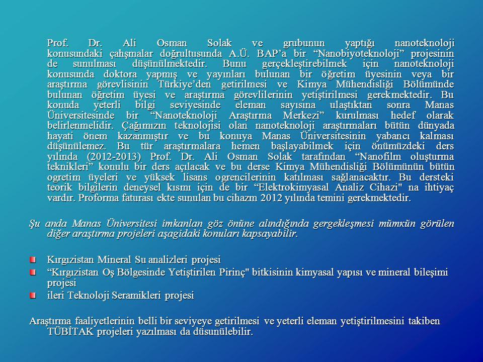 Kırgızistan Mineral Su analizleri projesi