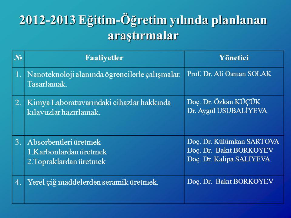 2012-2013 Eğitim-Öğretim yılında planlanan araştırmalar