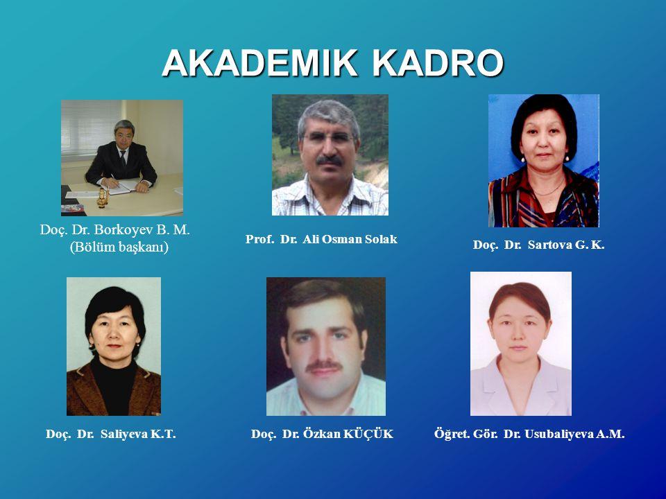 AKADEMIK KADRO Doç. Dr. Borkoyev B. M. (Bölüm başkanı)
