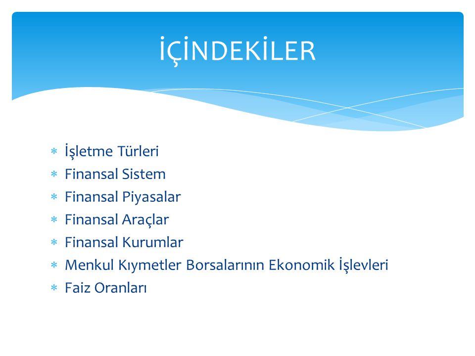 İÇİNDEKİLER İşletme Türleri Finansal Sistem Finansal Piyasalar