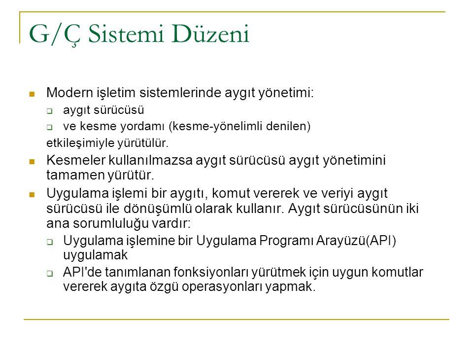 G/Ç Sistemi Düzeni Modern işletim sistemlerinde aygıt yönetimi: