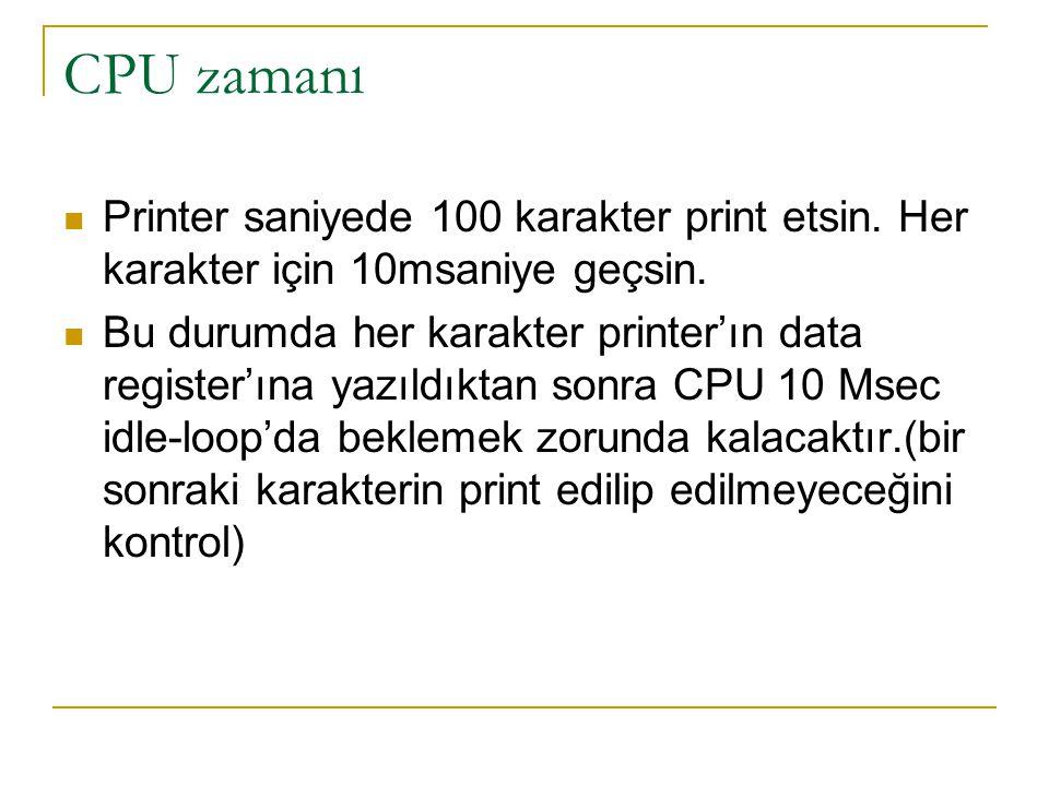 CPU zamanı Printer saniyede 100 karakter print etsin. Her karakter için 10msaniye geçsin.