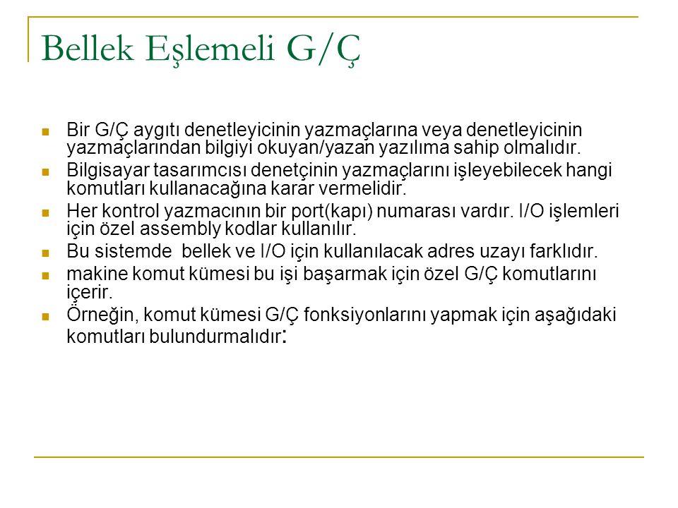 Bellek Eşlemeli G/Ç Bir G/Ç aygıtı denetleyicinin yazmaçlarına veya denetleyicinin yazmaçlarından bilgiyi okuyan/yazan yazılıma sahip olmalıdır.