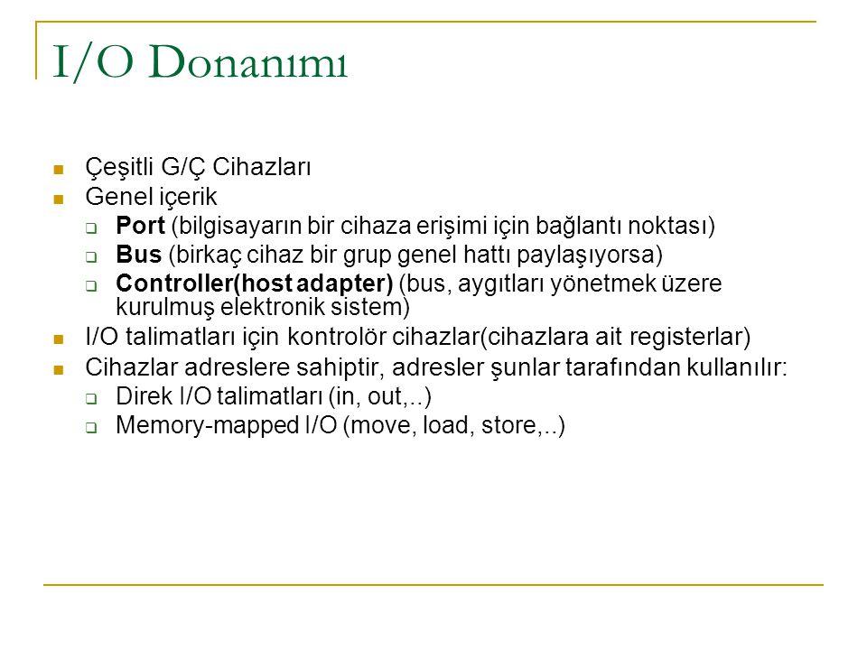 I/O Donanımı Çeşitli G/Ç Cihazları Genel içerik