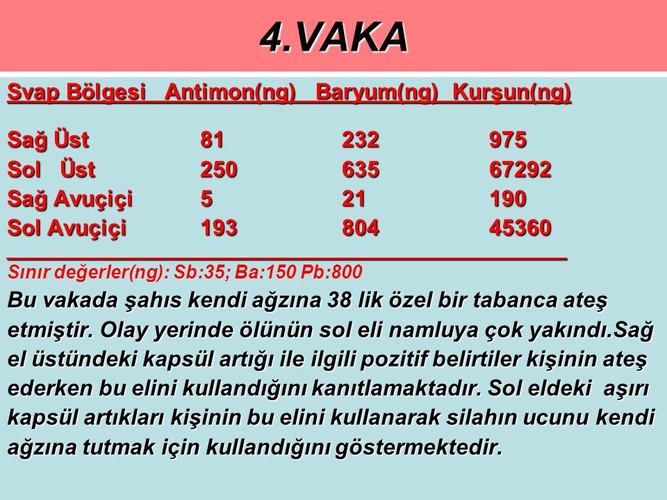 4.VAKA Svap Bölgesi Antimon(ng) Baryum(ng) Kurşun(ng)