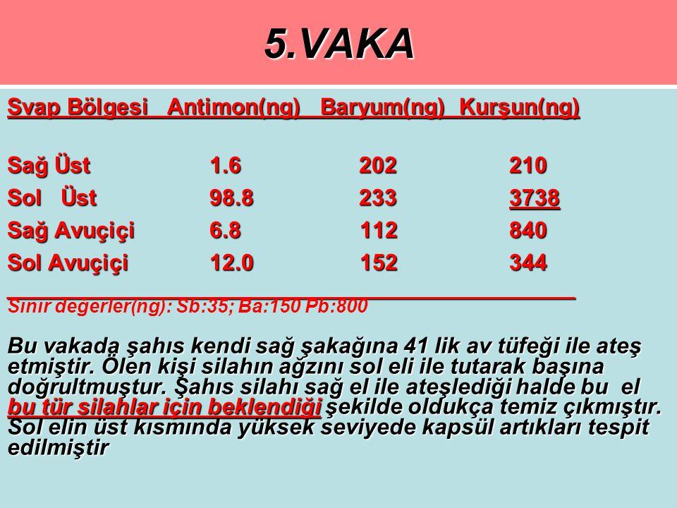 5.VAKA Svap Bölgesi Antimon(ng) Baryum(ng) Kurşun(ng)