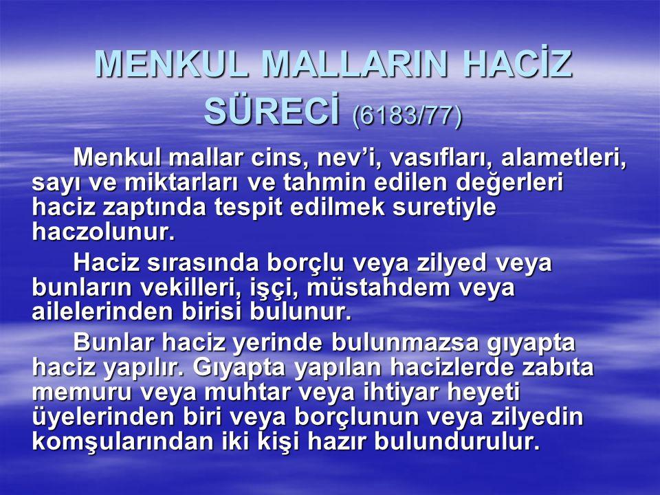 MENKUL MALLARIN HACİZ SÜRECİ (6183/77)