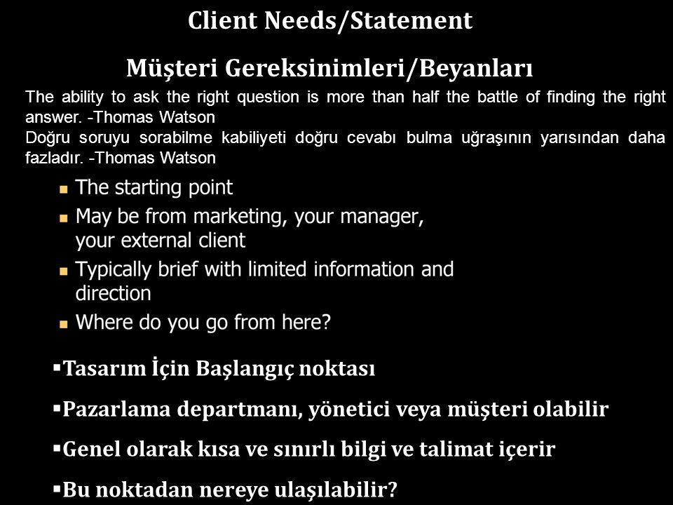 Client Needs/Statement Müşteri Gereksinimleri/Beyanları