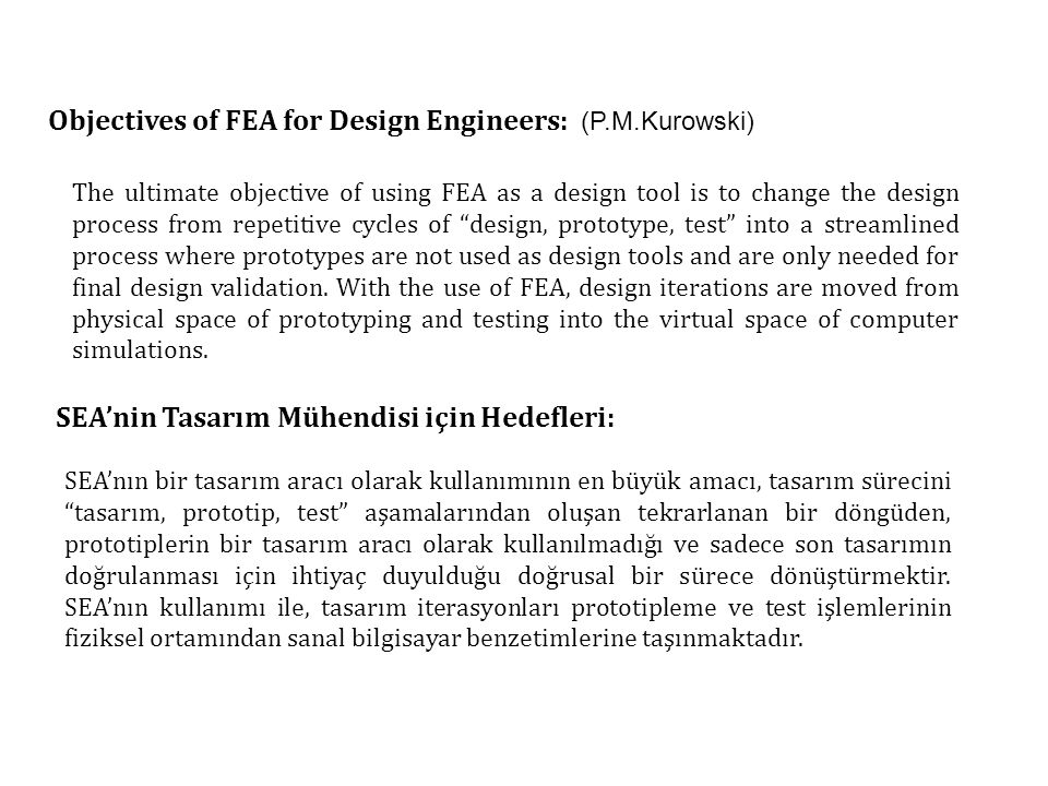 Objectives of FEA for Design Engineers: (P.M.Kurowski)
