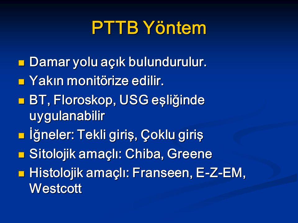 PTTB Yöntem Damar yolu açık bulundurulur. Yakın monitörize edilir.