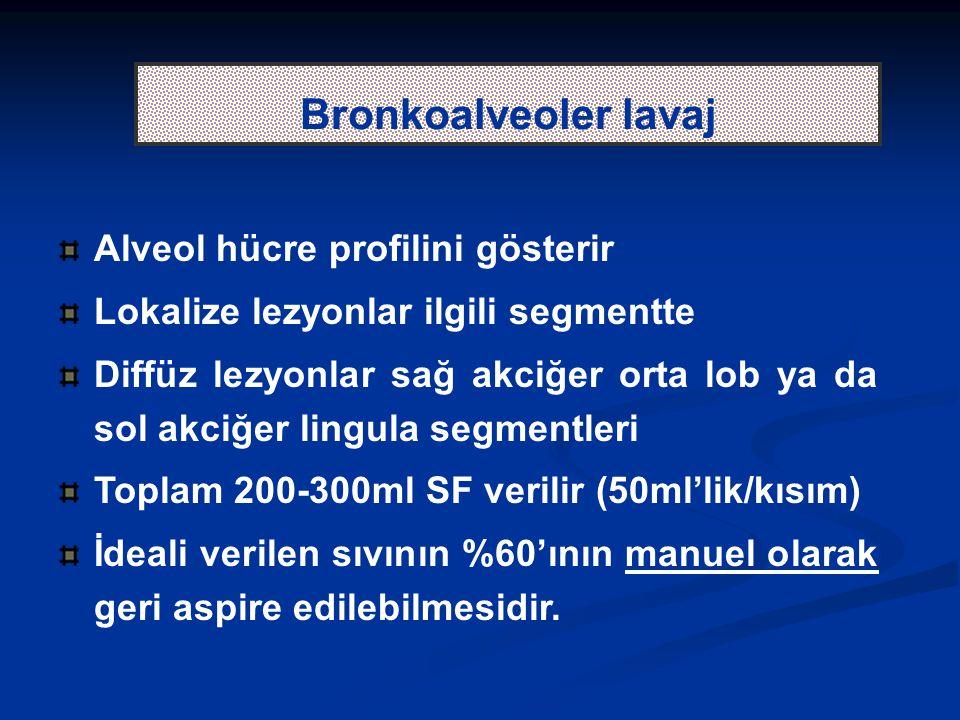 Bronkoalveoler lavaj Alveol hücre profilini gösterir