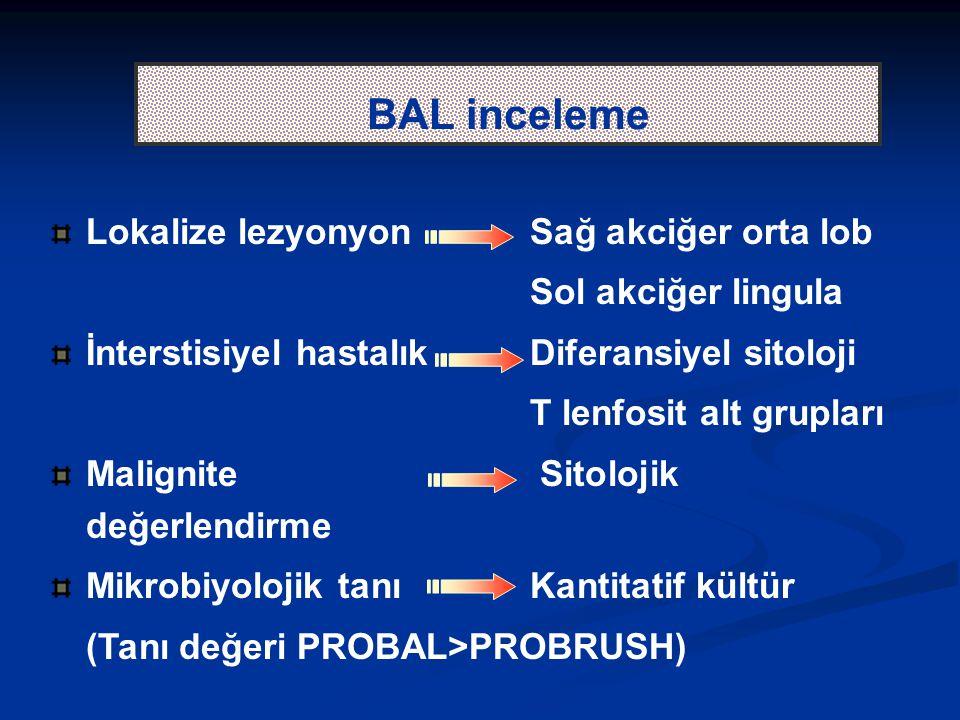 BAL inceleme Lokalize lezyonyon Sağ akciğer orta lob