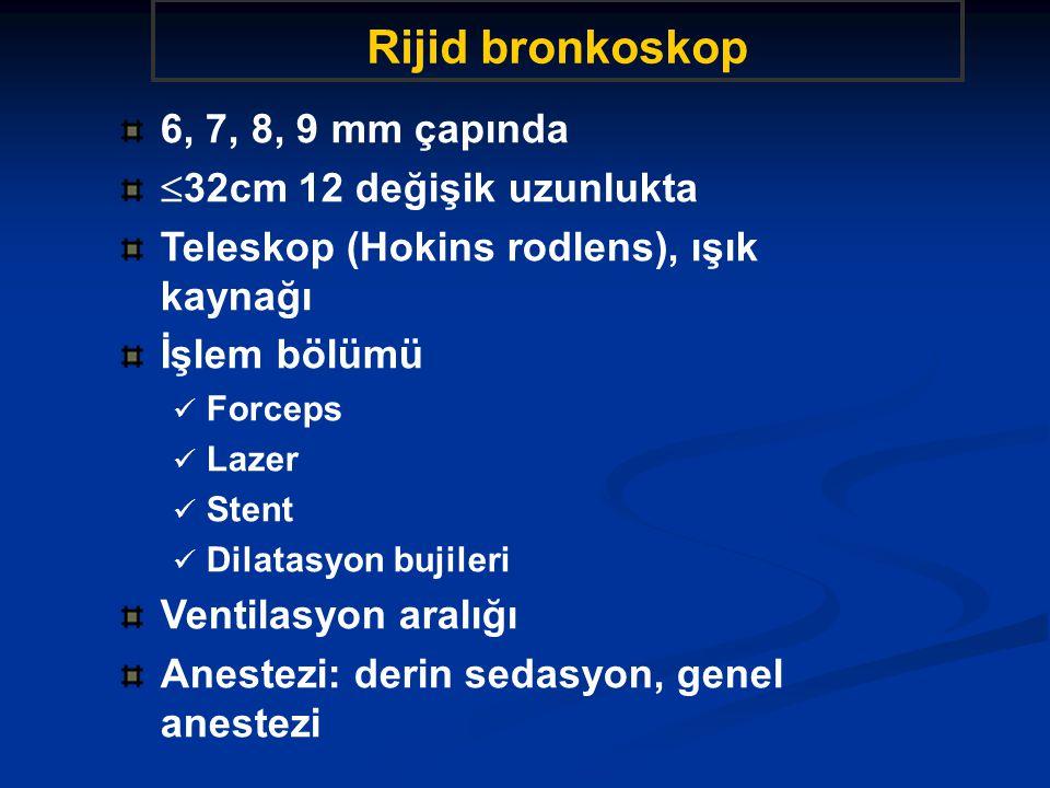 Rijid bronkoskop 6, 7, 8, 9 mm çapında 32cm 12 değişik uzunlukta