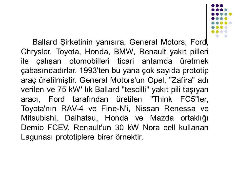 Ballard Şirketinin yanısıra, General Motors, Ford, Chrysler, Toyota, Honda, BMW, Renault yakıt pilleri ile çalışan otomobilleri ticari anlamda üretmek çabasındadırlar.