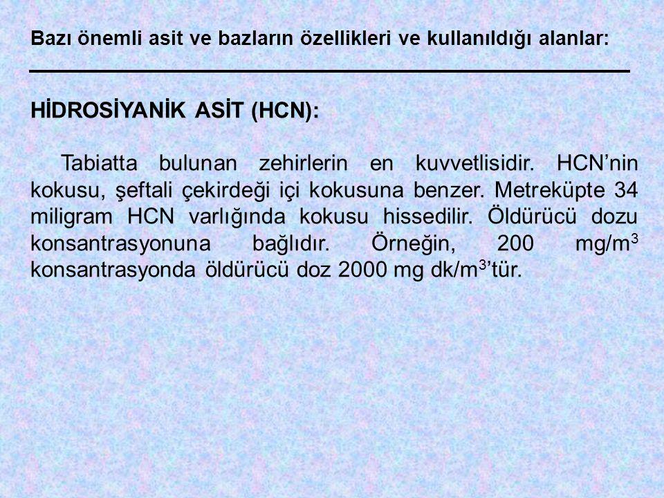 HİDROSİYANİK ASİT (HCN):