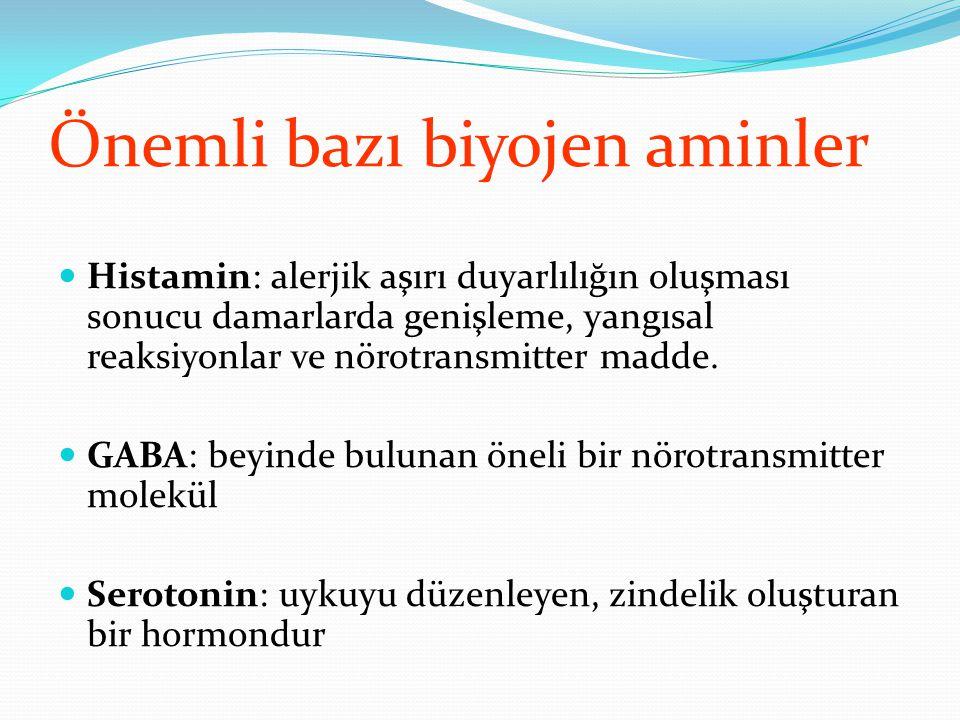 Önemli bazı biyojen aminler