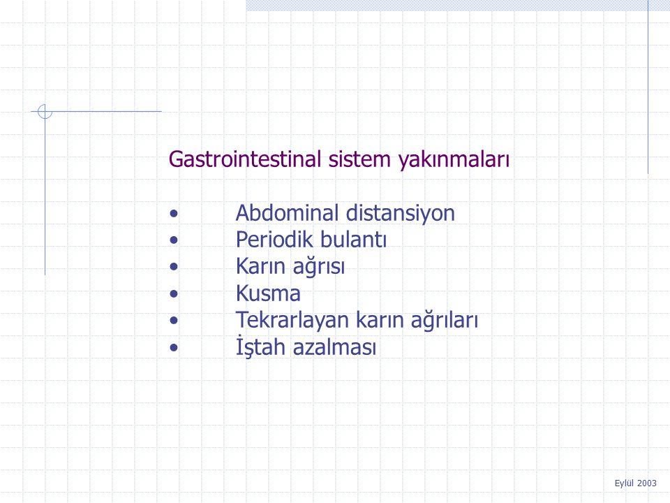 Gastrointestinal sistem yakınmaları